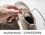 close up vintage leather shoes... | Shutterstock . vector #1144332446