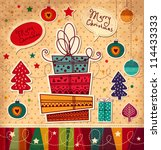 vintage christmas card with... | Shutterstock .eps vector #114433333