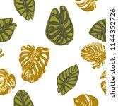 seamless hand drawn botanical... | Shutterstock .eps vector #1144352726