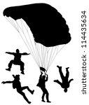 skydiving silhouette on white... | Shutterstock .eps vector #114435634