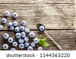 freshly picked blueberries and... | Shutterstock . vector #1144363220