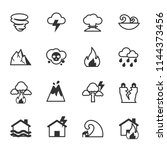 natural disaster icons  vector... | Shutterstock .eps vector #1144373456