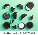 chocolate cream filling... | Shutterstock . vector #1144375640