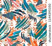 watercolor orange gazania...   Shutterstock . vector #1144395350
