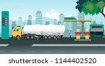 the truck is transferring oil...   Shutterstock .eps vector #1144402520