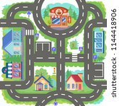 board game with city road.... | Shutterstock .eps vector #1144418906