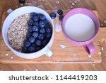 oatmeal  porridge  porridge... | Shutterstock . vector #1144419203