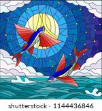 illustration in stained glass... | Shutterstock .eps vector #1144436846