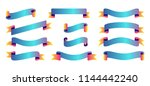set of ribbons banners gradient ... | Shutterstock .eps vector #1144442240