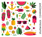 summer pattern and holiday... | Shutterstock .eps vector #1144442249
