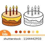 coloring book for children  cake | Shutterstock .eps vector #1144442933