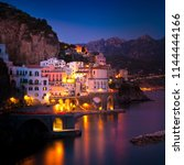 night view of amalfi cityscape... | Shutterstock . vector #1144444166