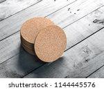stack of round cork pads  beer... | Shutterstock . vector #1144445576