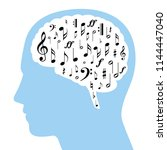 musical notes in a white brain... | Shutterstock .eps vector #1144447040