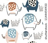 seamless pattern with cute ink... | Shutterstock .eps vector #1144454933