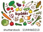 vegetable doodle cartoon set | Shutterstock .eps vector #1144460213