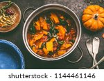 close up of tasty pumpkin dish...   Shutterstock . vector #1144461146