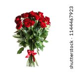 Stock photo bouquet of beautiful red roses on white background 1144467923