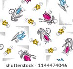 roses with leaves pattern... | Shutterstock .eps vector #1144474046
