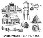 set of vector farm elements.... | Shutterstock .eps vector #1144474556