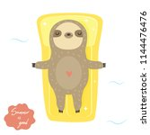 funny swimming sloth.... | Shutterstock .eps vector #1144476476