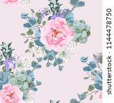 delicate pattern of dog roses... | Shutterstock .eps vector #1144478750