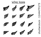 wing icon set | Shutterstock .eps vector #1144479173