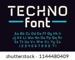 geometric modern techno font... | Shutterstock .eps vector #1144480409