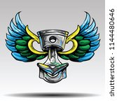 piston with wings  | Shutterstock .eps vector #1144480646