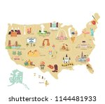 Usa Tourist Vector Map With...