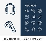 lifestyle icon set and earphone ... | Shutterstock .eps vector #1144495319