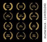 golden vector laurel wreaths on ... | Shutterstock .eps vector #1144501040