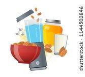 almond milk vector concept.... | Shutterstock .eps vector #1144502846