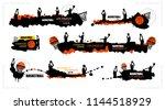 set designs for basketball ... | Shutterstock .eps vector #1144518929