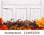 autumn still life with acorns... | Shutterstock . vector #114452524