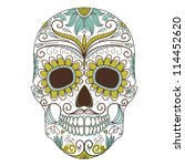 day of the dead colorful skull... | Shutterstock .eps vector #114452620