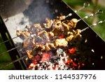 meat pork  fried in coals ... | Shutterstock . vector #1144537976