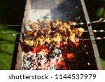 meat pork  fried in coals ... | Shutterstock . vector #1144537979