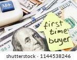 first time buyer written on a... | Shutterstock . vector #1144538246