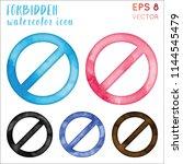 forbidden watercolor icon set.... | Shutterstock .eps vector #1144545479