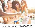 happy friends cheering with... | Shutterstock . vector #1144547993