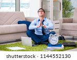 businessman taking work home... | Shutterstock . vector #1144552130