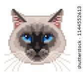 pixel siamese cat face isolated ... | Shutterstock .eps vector #1144552613
