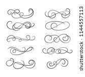 vector elements. a set of curls ... | Shutterstock .eps vector #1144557113