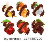 fruits and berries in chocolate ... | Shutterstock .eps vector #1144557200