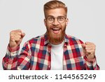 glad hipster with funny...   Shutterstock . vector #1144565249