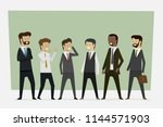 group working businessmen in... | Shutterstock .eps vector #1144571903