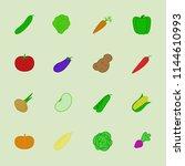 vector vegetable icon set flat... | Shutterstock .eps vector #1144610993