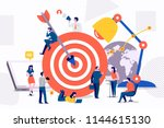 flat design concept teamwork to ... | Shutterstock .eps vector #1144615130