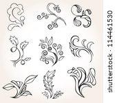 set of vintage flowers. vector | Shutterstock .eps vector #114461530